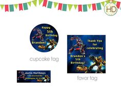 Transformers Party Package Transformer Birthday by HDInvitations Superhero Invitations, Birthday Invitations, Happy 5th Birthday, Birthday Parties, Transformer Birthday, Party Package, Superhero Party, Address Labels, Favor Tags
