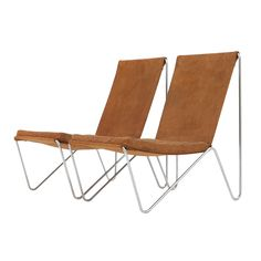 Pair of Bachelor chairs by Verner Panton, cognac brushed leather