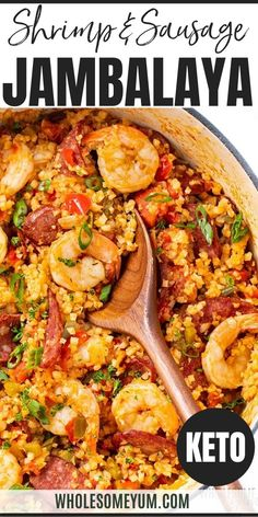 Low Carb Keto Jambalaya Recipe - keto jambalaya with cauliflower rice is a healthy version of the classic, with just as much flavor. This low carb jambalaya recipe makes an easy one-pot keto meal. Low Carb Jambalaya Recipe, Healthy Jambalaya, Fast Low Carb, Low Carb Keto, Keto Carbs, Real Food Recipes, Great Recipes, Cooking Recipes, Amigurumi