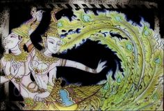 a couple of Kinaree (Nagapaksin -- Himaphan forest) Thai mythology