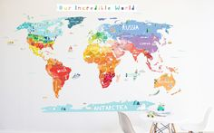 Pop lolli iconic cultural world map wall decal for the home the lovely wall co our incredible world die cut map decal with personalization stickers gumiabroncs Gallery