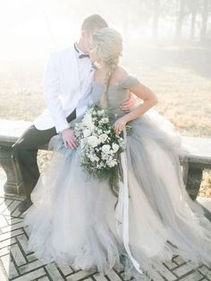 These designer wedding dresses today are a mix of elegance, sophistication and total charm from hot and sophisticated bridal couture designers. Snowy Wedding, Mod Wedding, Wedding Bride, Dream Wedding, Wedding Stuff, Wedding Bells, Wedding Posing, Blue Wedding Dresses, Designer Wedding Dresses