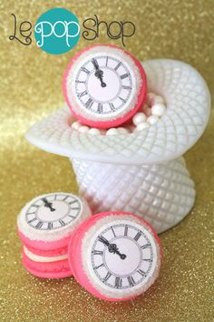 Couture Clock Macarons original macaron by Le Pop Shop leaders of the Macaron Revolution! Retail location opening Spring Shipping to US Le Pop, New Love, Spring 2014, Cooking Timer, Macarons, Revolution, Retail, Clock, French