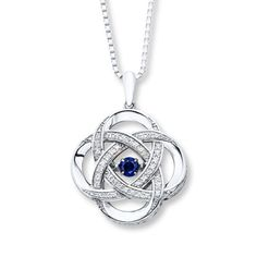 930633502 - Colors in Rhythm Necklace Lab-Created Sapphires Sterling Silver