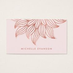 Rose Gold Mandala Yoga Instructor Girly Blush Pink Business Card - floral gifts flower flowers gift ideas