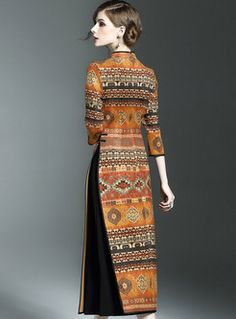 Vintage Stand Collar Print Three Quarters Sleeve Slim Maxi Dress Source by sylviegalligani Girls Maxi Dresses, Prom Dresses With Sleeves, Gala Dresses, Lace Dress With Sleeves, Women's Fashion Dresses, Classy Outfits For Women, Clothes For Women, Mode Batik, Simple Kurti Designs
