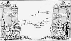 Political cartoon of the cold war representing the use of weapons to scare the USSR.