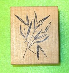 Fred Mullet Asian 085 - Bamboo rubber stamp leaves stems nature wood mounted