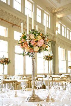 stunning tall candelabra wedding centerpiece  ~  we ❤ this! moncheribridals.com
