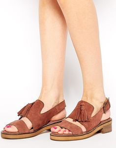 Image 1 of ASOS FRANCINE Leather Sling Back Tassel Sandal
