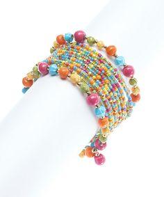 Look at this #zulilyfind! Blue & Pink Walking on Sunshine Coil Wrap Bracelet #zulilyfinds