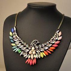$9.46 Vintage Faux Gemstone Embellished Eagle Shape Pendant Necklace For Women