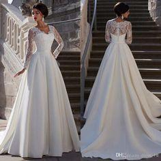 2031a202f091 Modest 2016 Ivory Satin Long Sleeve A-line Wedding Dresses Cheap Arabic V  Neck Beaded Long Bridal Gowns Custom Made China EN90220