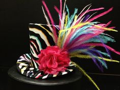 Zebra Mad Hatter Mini Top Hat. Great for by daisyleedesign on Etsy