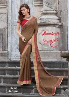 Buy this Exclusive Brown Brasso Stone Work, Multi Border with Smoke Effect Saree as well as Maroon Color Blouse along with Rawsilk Fancy Lace Border Online from Laxmipati.com in USA, UK, Canada, Pakistan, SriLanka, Bangladesh, Nepal, India etc. Shop Now! 100% genuine products guaranteed. Limited Stock! #Catalogue #Simran Price - Rs. 3069.00 Visit for more designs@ www.laxmipati.com  #Sarees #‎ReadyToWear ‪#‎OccasionWear ‪#‎Ethnicwear ‪#‎FestivalSarees ‪#‎Fashion ‪#‎Fashionista ‪#‎Couture…