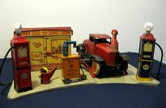 "Marx Tin ""Sunny Side Service Station"" w Oil Cart Water Can Car Original Box"