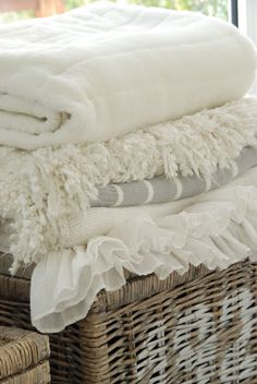 cosy blankets - store them in the puffe in the sitting room ready to cosy up on a night