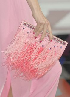 Valentino pink feather purse. Pink dress. Rhinestones