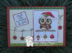 Owl-Ways Christmas http://www.missdaisystamps.com/product/owl-ways-christmas on card sample designed by Margreet www.margreets-scrapcards.blogspot.nl