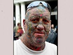 face+tattoos+tattoos on people face amazing tattoo images girls pictures Crazy People With Tattooed Face Images) Does he have a job? Bad Face Tattoos, Facial Tattoos, Weird Tattoos, Cool Tattoos For Guys, Body Art Tattoos, Horrible Tattoos, Amazing Tattoos, Funny Tattoos, Tribal Face