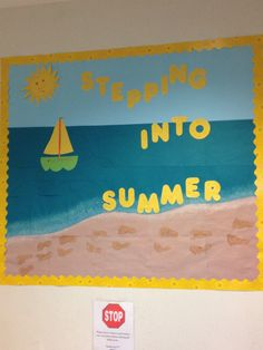 DIY summer bulletin board décor is filled with fun. Browse through some of our cool summer bulletin board ideas to help spruce up your summer classes. Beach Bulletin Boards, Bulletin Board Display, Infant Classroom, Classroom Door, Classroom Ideas, Classroom Layout, Classroom Crafts, Happy Campers, Preschool Bulletin Boards
