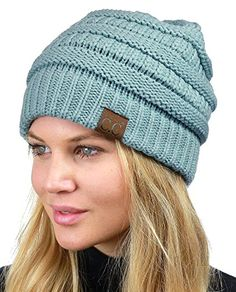df365988cd067c C.C Unisex Chunky Soft Stretch Cable Knit Warm Fuzzy Lined Skully Beanie,  Denim at Amazon · Winter Hats For WomenCaps ...