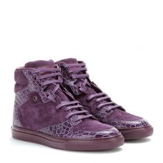 Balenciaga Leather and Suede High-Top Sneakers ($480) ❤ liked on Polyvore featuring shoes, sneakers, purple, balenciaga trainers, purple high tops, balenciaga sneakers, balenciaga shoes and suede shoes