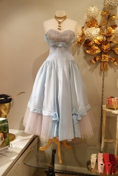 "short alice in wonderland inspired dresses | 1950's Alice and Wonderland Blue strapless party dress, waist 28"", 225 ..."