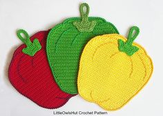 Ravelry: 070 Sweet peppers potholder pattern by LittleOwlsHut