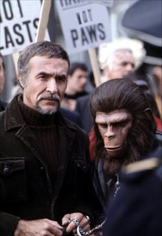 Conquest Of The Planet of the Apes. Ricardo Montalban as Armando, Roddy McDowall as Caesar.