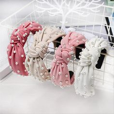 Haimeikang Vintage Knotted Pearl Hairband With Pearl Center Knot Headband Hair Accessories For Women Hair Band Hairband, Rhinestone Headband, Wide Headband, Pearl Headband, Pearl Hair, Knot Headband, Headband Hair, Thick Headbands, Cute Headbands