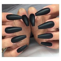 Coffin Nails Are The Creepiest Trend To Come Out Of 2015 ❤ liked on Polyvore featuring beauty products, nail care, nail treatments and nails