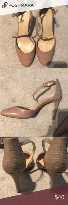 Banana Republic Mary Jane Heels Almond toe. Lightly used. Ankle strap. Nude/almond color (almost light pink) Banana Republic Shoes Heels