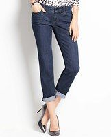 """Petite Boyfriend Denim Jeans - With endless comfort and relaxed style, our boyfriend jeans are a can't-live-without pair you'll wear all season long. Contoured waistband. Button fly. Belt loops. Classic five-pocket styling. 26"""" inseam unrolled; 23"""" rolled."""