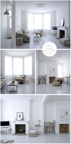 Love the painted floorboards and blank canvas - Beautiful White, London…