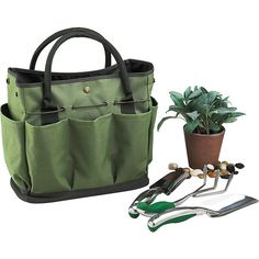 Picnic at Ascot Gardening Tote with 3 Tools - Orange/Navy - All... ($47) ❤ liked on Polyvore featuring home, outdoors and garden tools