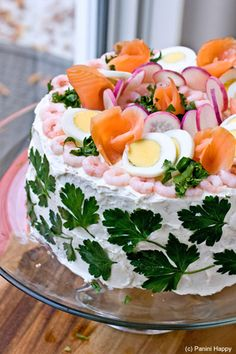 The Swedish Sandwich Cake DC: step by step instructions…cucumbers, ham, or lox etc ..you add what you like ( keep it light, healthy)