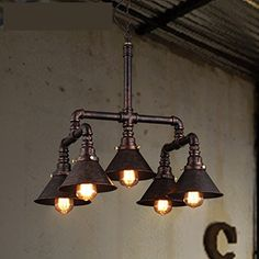 Retro Chandeliers Personality Innovative Style Reminiscent Of The Water Pipes Chandeliers Minimalist American Rural Study Living Room Restaurant Cafe Lamps5 Head * Click image to review more details.