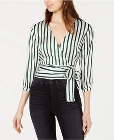 Project 28 Nyc Striped Wrap Top - Olive Ivory S Fashion Couple, Wrap Blouse, Western Outfits, Casual Looks, Nyc, Couture, Clothes, Tops, Dresses