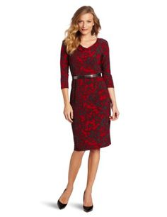 Fashion Jones New York Women's Printed Matte 3/4 Sleeve Cowl Neck Raglan Dress - http://clothing.wadulifashions.com/fashion-jones-new-york-womens-printed-matte-34-sleeve-cowl-neck-raglan-dress/