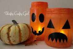 Thrifty Crafty Girl made these. My idea is to make them with decoupage and flameless LED votives.