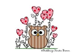 Doodle Eulen Herz-Blumen Stickdatei. Doodle owl appliqué embroidery file for embroidery machines. ©Stickdesign Kerstin Bremer