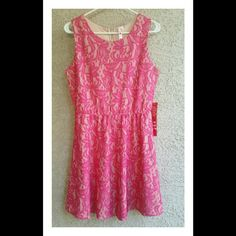 * HOT PINK LACE PARTY DRESS * Hot pink lace over nude with an expose zipper up the back. This dress is fabulous and the fit is so flattering! The fit & flare style is flattering for most shapes. New with tags! Perfect condition! Dresses Mini