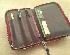 Journal and passport wallet organizer /zip around by aseismanos Leather Label, Leather Cover, Passport Wallet, His Travel, Pen Holders, Moleskine, Cow Leather, Travel Accessories, Gifts For Him