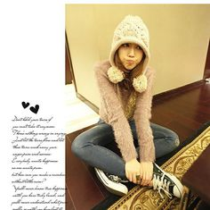 Autumn-Winter Hick Rod Largest Balls Ear Protection Warm Knitting Wool Hat 2013 New Korean Female Caps Solid Knitted 5 colors  $7.99