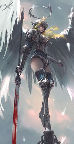 Sarlia by wlop GhostBalde indie comic female angel Princess Sarlina sword spear armor clothes clothing fashion player character npc | Create your own roleplaying game material w/ RPG Bard: www.rpgbard.com | Writing inspiration for Dungeons and Dragons DND D&D Pathfinder PFRPG Warhammer 40k Star Wars Shadowrun Call of Cthulhu Lord of the Rings LoTR + d20 fantasy science fiction scifi horror design | Not our art: click artwork for source