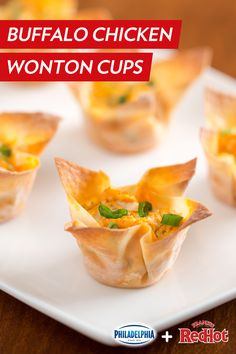 Baked wonton wrappers stuffed with shredded buffalo chicken, cream cheese, and green onions. This quick and easy recipe is the perfect summer appetizer. Wonton Appetizers, Wonton Recipes, Finger Food Appetizers, Appetizers For Party, Appetizer Recipes, Snack Recipes, Cooking Recipes, Chicken Recipes, Savory Snacks