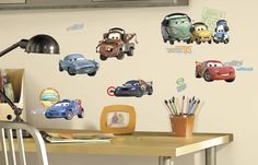 Roommates Disney Pixar Cars 2 Peel Stick Wall Decals -- Click image for more details. (This is an affiliate link) Disney Cars Characters, Disney Pixar Cars, Disney Films, Decoration Stickers, Wall Decor Stickers, Wall Decorations, Christmas Decorations, Disney Wall Decals, Car Decals