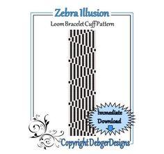 Zebra+Illusion++Loom+Bracelet+Cuff+Pattern+by+LoomTomb+on+Etsy,+$4.50