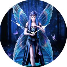 In a magical forest on a moonlit night, a fairy walks forwards towards you through a ring of mushrooms. Anne Stokes, Cool Clocks, Magical Forest, Princess Zelda, Disney Princess, Enchanted, Disney Characters, Fictional Characters, Anime